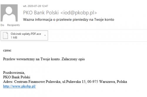 Fałszywy mail PKO BP